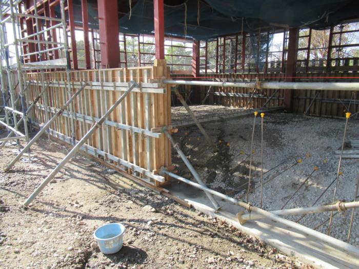 S造その4 腰壁コンクリート打設完了