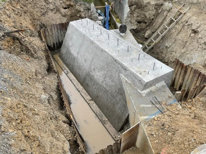 重力式擁壁1リフト目ボックスカルバート巻き込み解体完了