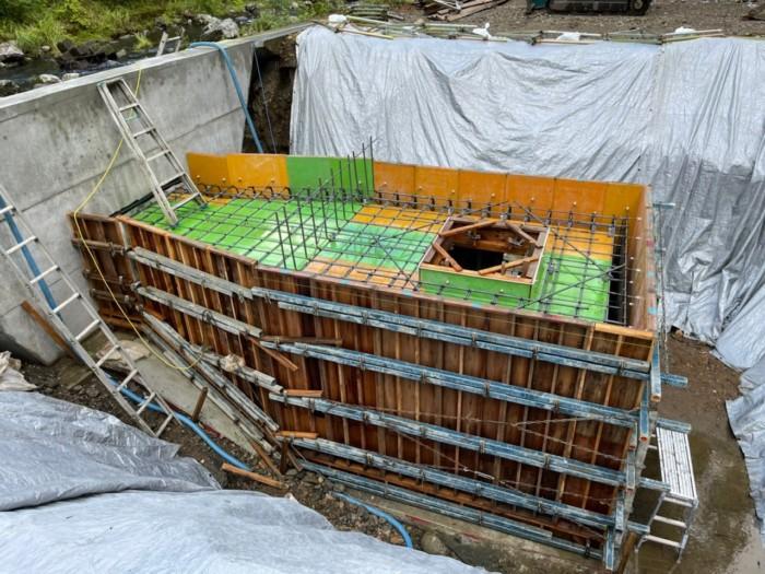 小水力発電所ボックスカルバート組立完了